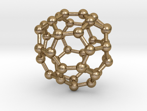 0147 Fullerene C40-35 c2 in Polished Gold Steel