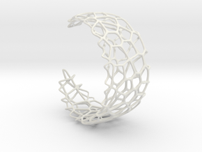 Voronoi Cuff Bracelet with Large Cells  in White Strong & Flexible