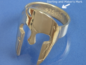 Spartan Ring Size US 11 in Polished Silver