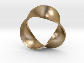 0157 Mobius strip (p=3, d=5cm) #005 in Polished Gold Steel