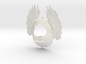 Seed-house with wings 18cm  in White Strong & Flexible
