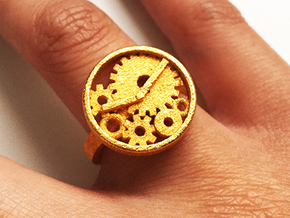 Watch Ring in Polished Gold Steel