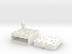 Castle Maze Puzzle Box in White Strong & Flexible Polished
