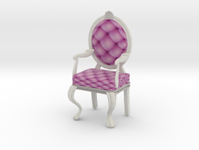 1:12 Scale Pink/White Louis XVI Oval Back in Full Color Sandstone