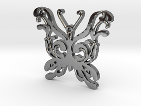 Swirly Butterfly Necklace Pendant in Premium Silver
