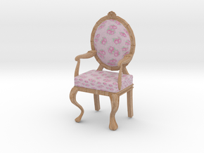 1:12 Scale Pink Chintz/Pale Oak Louis XVI Chair in Full Color Sandstone