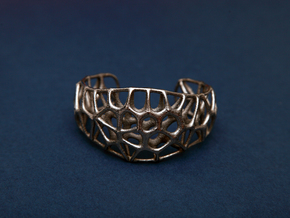 Voronoi Webb Fibre Cuff in Polished Nickel Steel