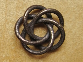 Torus Knot Pendant #2 in Polished Bronze Steel