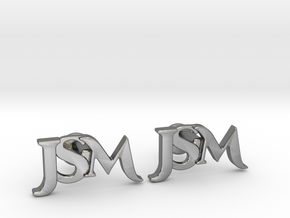 Monogram Cufflinks JSM in Polished Silver