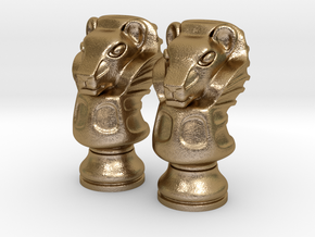 Pair Lion Chess Big / Timur Asad Piece in Polished Gold Steel