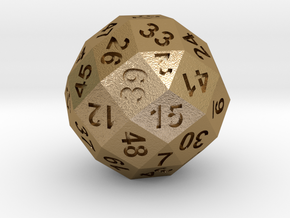 50-side dice (solid core) in Polished Gold Steel