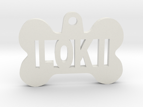 Bone Pet ID Tag - Loki in White Strong & Flexible