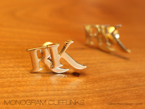 Monogram Cufflinks RK in 18k Gold Plated