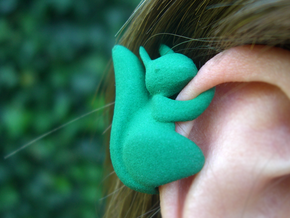 Ear Squirrel - ear cuff (right) in Green Strong & Flexible Polished