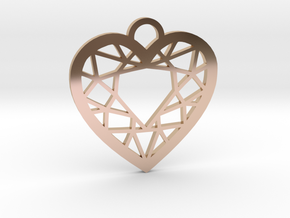 Diamond Heart Charm in 14k Rose Gold Plated