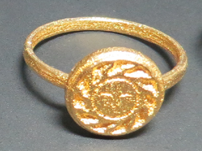 Sun Seal, Size 8.5 in Polished Gold Steel