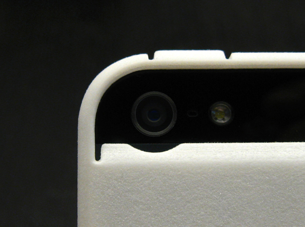 "Cariband case for iPhone 5/5s, ""holds stuff"" 3d printed White Strong & Flexible POLISHED, Back, camera detail"