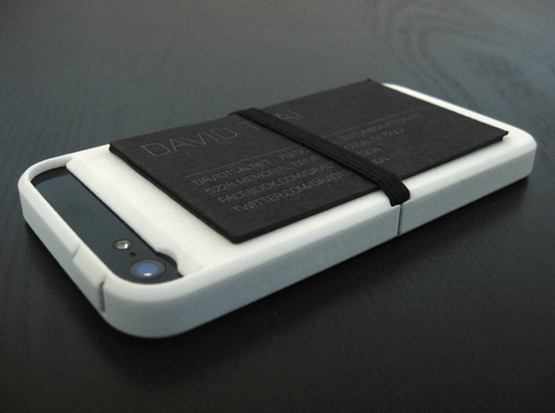 "Cariband case for iPhone 5/5s, ""holds stuff"" 3d printed White Strong & Flexible, Back, holding business cards"