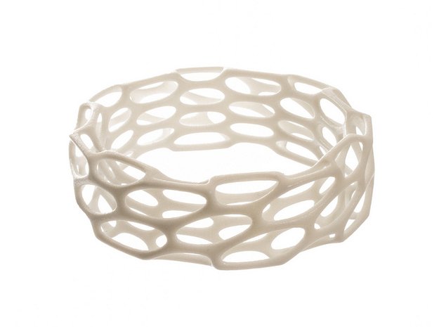 Porous Bracelet 3d printed in white strong and flexible polished