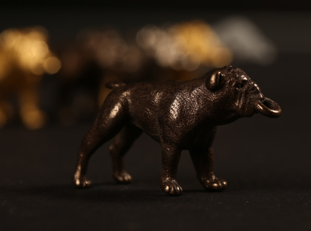 Bulldog Keychain 3d printed Antique Bronze Glossy