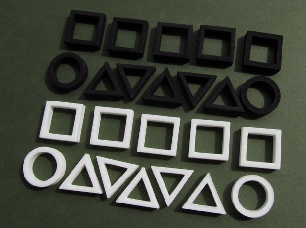 stratobattle pieces 3d printed in Black and White Strong and Flexible