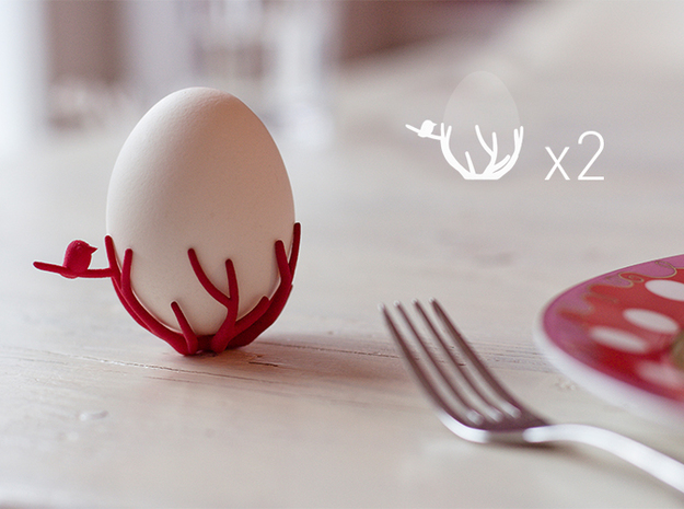 birdsnest eggcups duo 3d printed eggcup set of 2