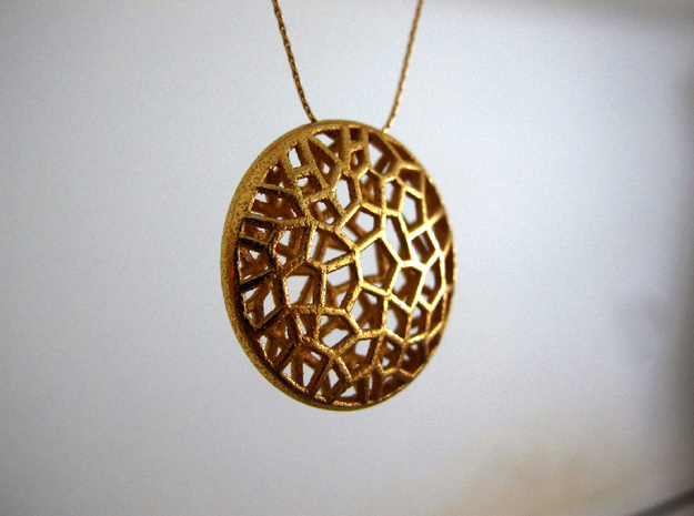 Bio Cell Pendant 3d printed gold plated Bio Pendant necklace