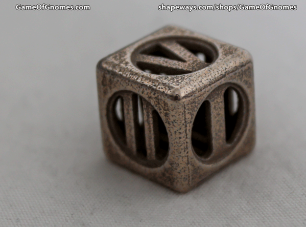 Hollow Dice Numerals 3d printed Printed in Stainless Steel