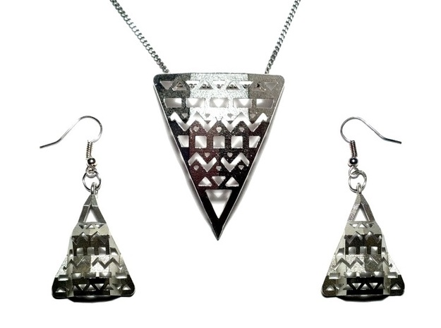 Aztec Earrings 3d printed Aztec Pendant + Earrings in Raw Silver