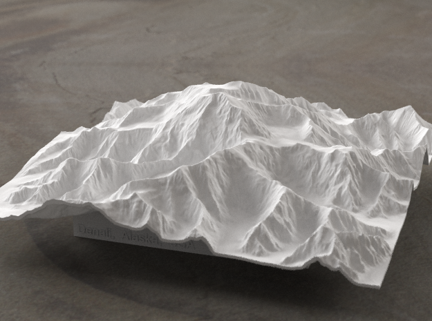 6'' Denali, Alaska, USA 3d printed Radiance rendering of the model, viewed from the South