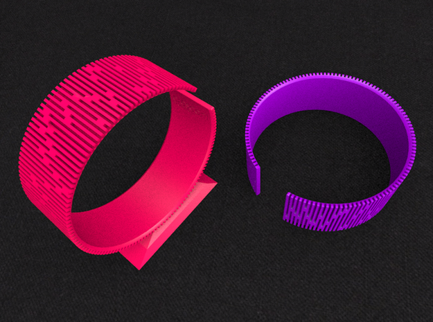 Crescent Bracelet (M) 3d printed Hot Pink & Violet Purple!