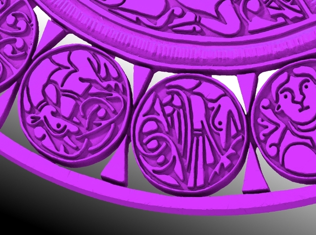 The Fuller Brooch 3d printed Medallions close-up