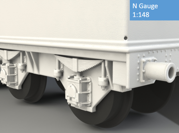 GWR Collett 4000 gal tender, motor cutout, N Gauge 3d printed Axle box and spring detail