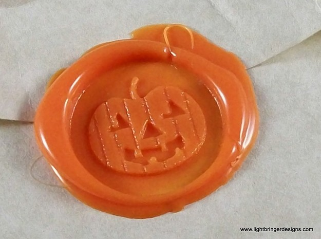Jack-O'-Lantern Wax Seal 3d printed Jack-O-Lantern impression in Mandarin Orange wax