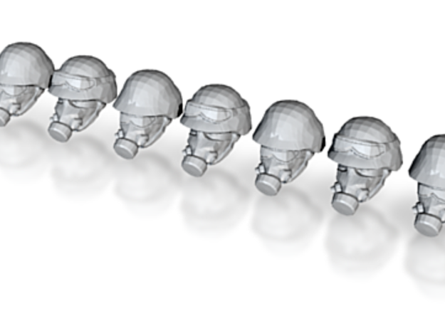 Gas Masked Solider Heads (x10) 3d printed