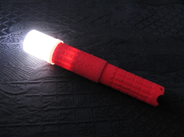 Diffuser for AAA Torch 1 (Flashlight) 3d printed Diffuser mounted on a Red Plastic AAA Torch 1 (not included)