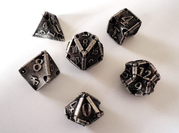 Stretcher Dice Set 3d printed In stainless steel and inked.