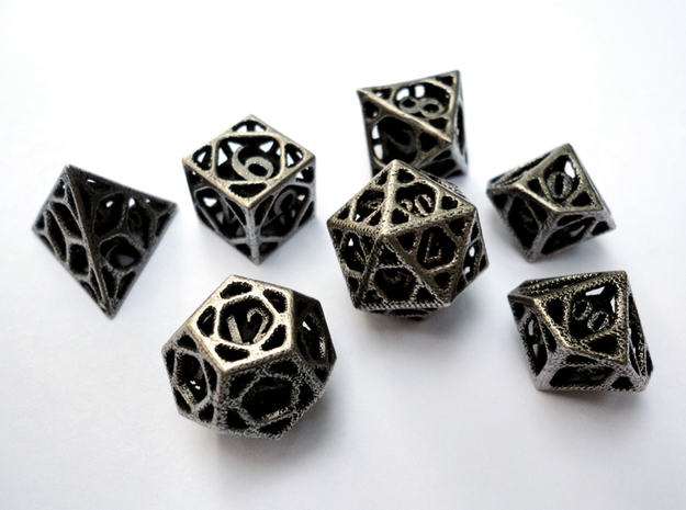 Cage Dice Set with Decader 3d printed In stainless steel and inked.