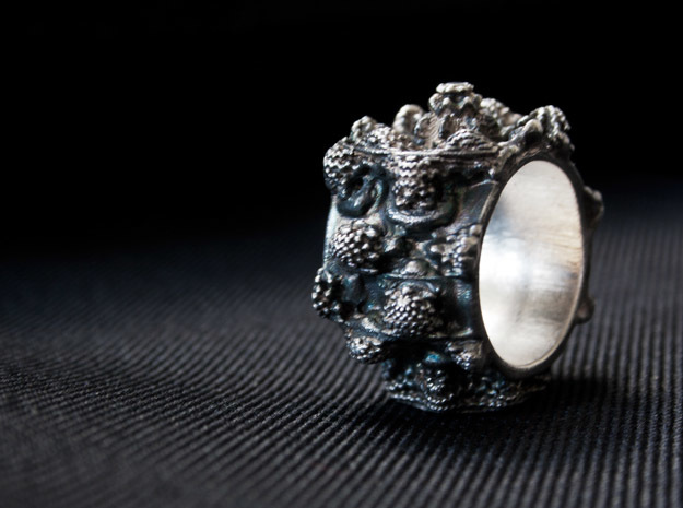 Mandelring of the 7'th Power - 20mm 3d printed Patinated - Post work oxidizing, not as you get it, just to show what is possible!