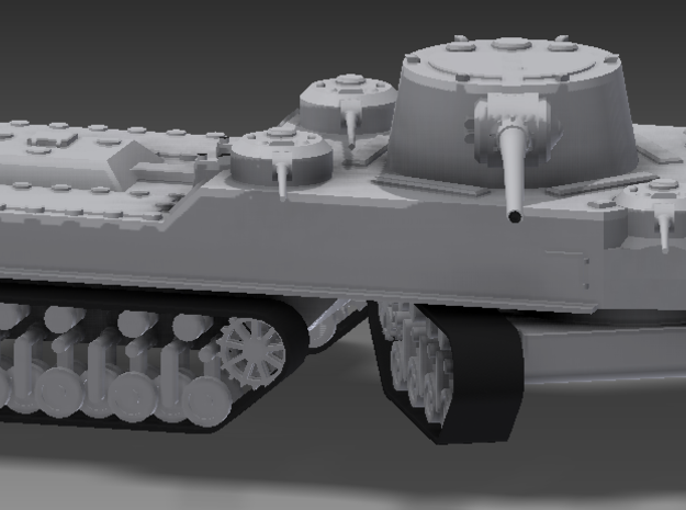 1/100 JN-129 Armament and Front Tracks 3d printed The JN-129 cannot turn like a conventional tank, and has differentials on all four drive sprockets. In addition, the JN-129 can bombard a target with at least three of its guns from any angle.