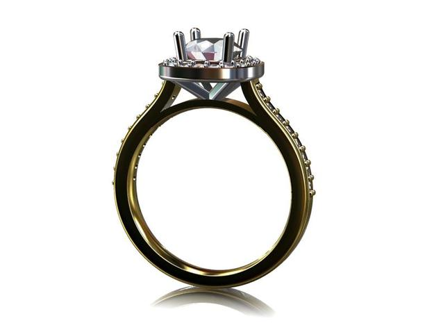 Diamond Halo Engagement Ring 3d printed