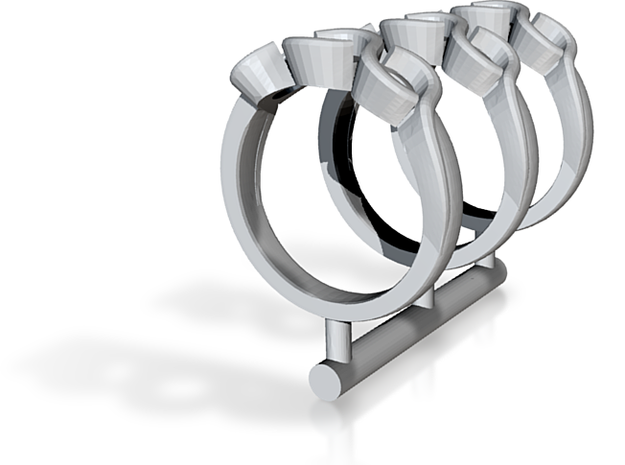 Three Stone Engagement Ring 3d printed
