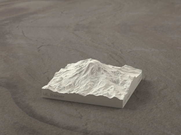 3'' Mt. Rainier, Washington, USA, Sandstone 3d printed Radiance rendering of model from South