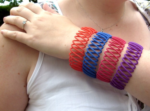 Spring Bracelet 3d printed in Strong and Flexible Polished