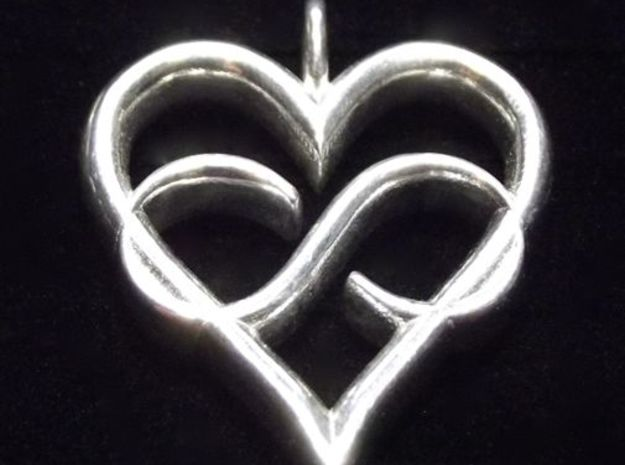 Infinity-heart 3d printed Glossy Silver