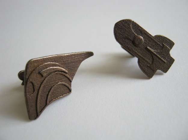 Rocketeer Cufflinks 3d printed Antique Polished Bronze