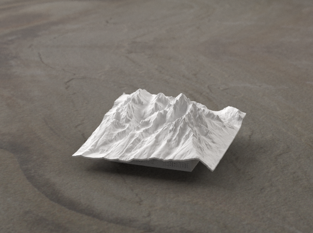 3'' Grand Tetons Terrain Model, Wyoming, USA 3d printed Radiance rendering of model, viewed from the East