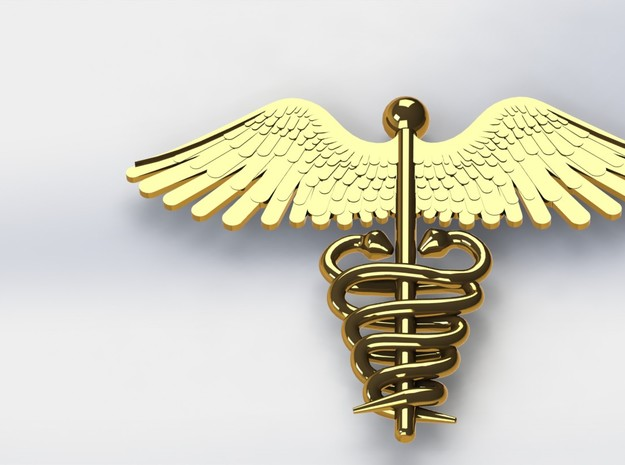 Medical Pendant2 3d printed Gold Render