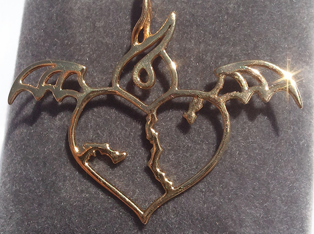 Flying broken heart - Silver / Gold pendant 3d printed