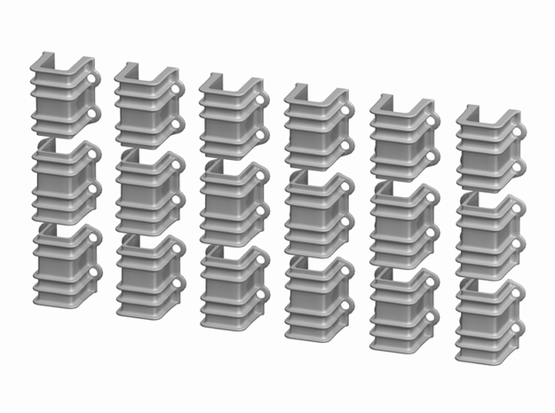 1:20.3 D&RGW 6200 series Flatcar Stake Pockets, 18 3d printed 1:20.3 D&RGW 6200 series Flatcar Stake Pockets, set of 18